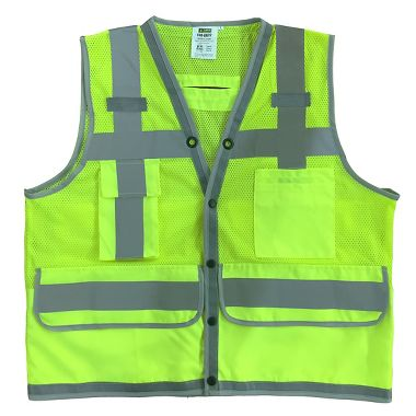 Cor-Brite™ Heavy Duty Class 2 Surveyor's Mesh Vest, Full Width Rear Pocket