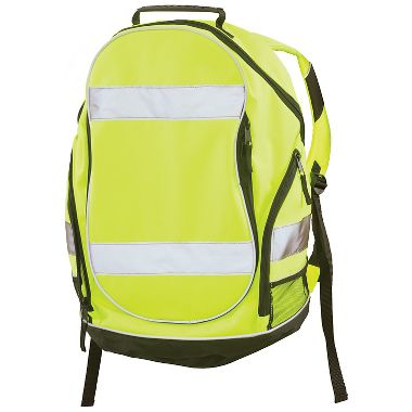 ERB 29003 Hi Viz Lime Reflective Backpack with Hardhat Pouch