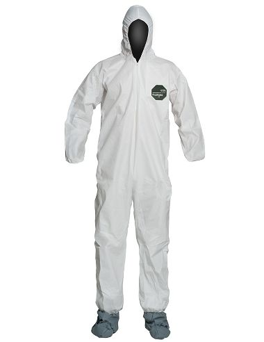 DuPont™ ProShield® 50 Coverall, NB122S WH, Hood, Elastic Wrists, Boots, Serged Seams