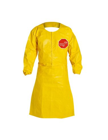 "DuPont™ Tychem® 2000 Sleeved Apron, QC275B YL, Elastic Wrists, 44"" Long"
