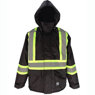 Viking 6326JB Black Insulated Jacket with Green and Reflective Silver Striping