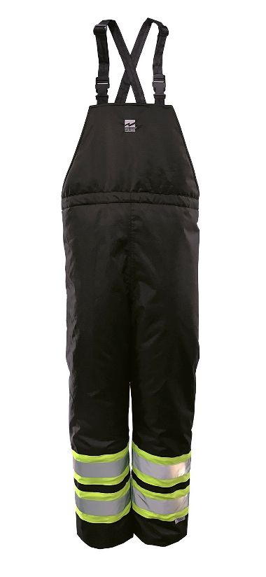 Viking 6326PB Black Insulated Bib Pants with Green and Reflective Silver Striping