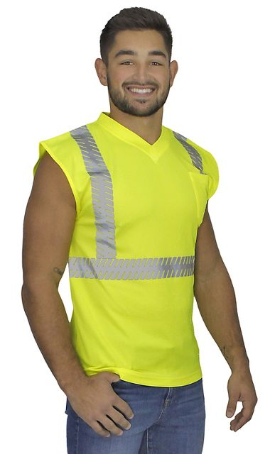 Illuminator™ Sleeveless Class 2 T-Shirt with Segmented, Stretch Reflective Stripes