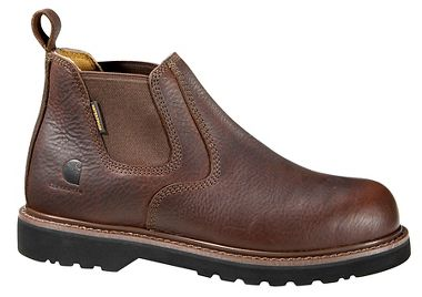 Carhartt® CMS4100 Waterproof 4-Inch Brown Pull-On Low Boot, Plain Toe