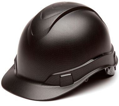 Pyramex® HP44117 Ridgeline® Hard Hat 4 Pt Ratchet Suspension, Black Graphite Pattern