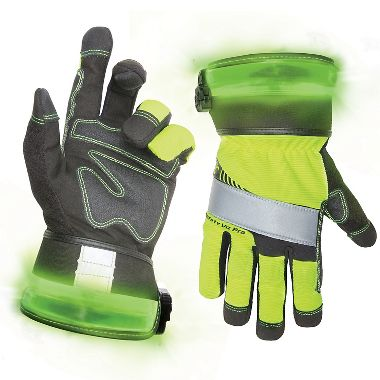CLC® L146 Safety Viz Pro Lime Gloves, Lighted Safety Cuffs, Touch Screen Fingertips
