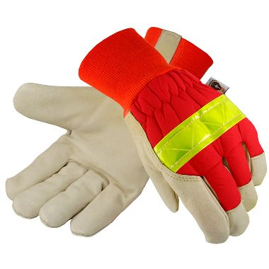 Insulated Reflective Gloves, Knit Wrist