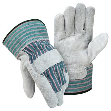 Economy Leather Palm Gloves, Safety Cuff