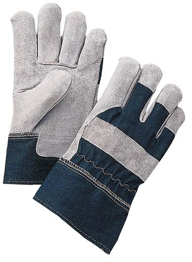 Economy Leather Palm Gloves with Denim Back