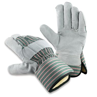 Leather Palm Gloves, Thermal Insulation, Safety Cuff, 1 Pair