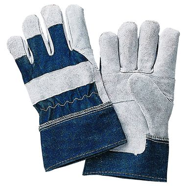 Economy Leather Palm Patch Gloves, Denim Back, Safety Cuff