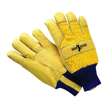 Rough Rider® Grain Leather Palm Gloves, Thermal Insulation Lining & Knit Wrist, 1 Pair