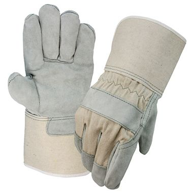 Select Leather Palm Gloves with White Back, Gauntlet Cuff