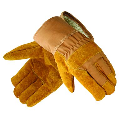 Leather Palm Work Gloves, Pile Lining, 1 Pair