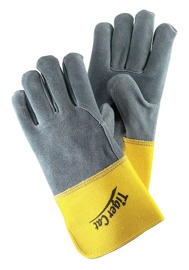 Tiger Cat™ Premium Leather Gloves, Leather Back, Gauntlet Cuff