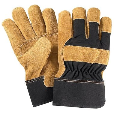 Cotton Duck Work Gloves with Leather Palm, Safety Cuff