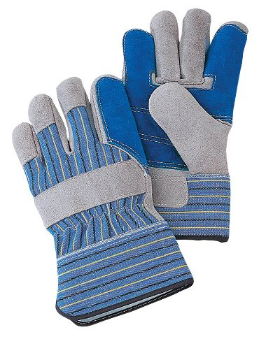 Premium Leather Palm Gloves with 2 Layer Palm, Safety Cuff, 1 Pair