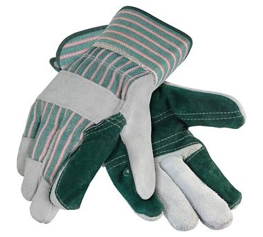 Leather Double Palm Gloves, Safety Cuff, 1 Pair