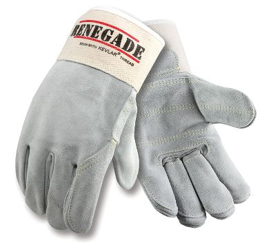Renegade™ Double Palm Gloves, Full Leather Back, Safety Cuff