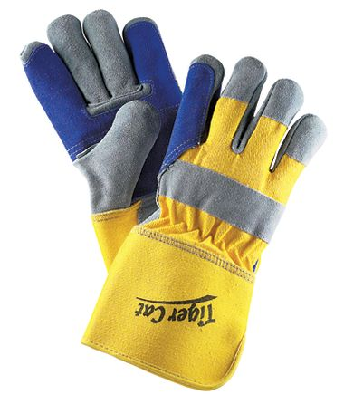 Tiger Cat™ Premium Leather Double Palm Gloves w/ Gauntlet Cuff