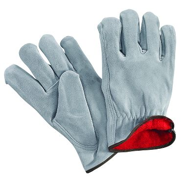 Split Cowhide Leather Drivers Gloves, Flannel Lined, 1 Pair