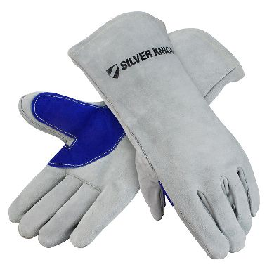 Silver Knight Premium Leather Welders Gloves, Lined