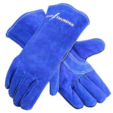 Blue Thunder Premium Leather Welders Gloves, Lined, 1 Pair