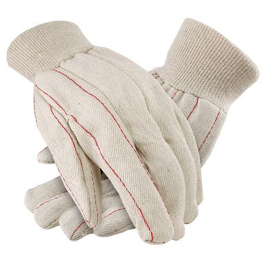 Cotton Double Palm Gloves, Knit Wrist, Made in USA