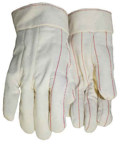 Cotton Double Palm Gloves, Band Top Cuff