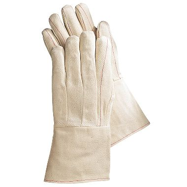 Cotton Double Palm Gloves, Gauntlet Cuff