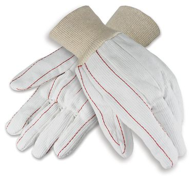 Corded Cotton Double Palm Poly Blend Gloves, Knit Wrist