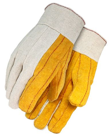 Gold Cotton Chore Gloves with Canvas Back, Band Top Cuff