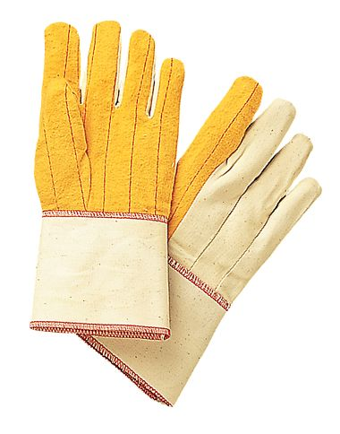 Gold Cotton Chore Gloves with Canvas Back, Gauntlet Cuff