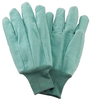 Green Cotton Chore Gloves, Made in USA