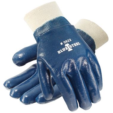 Blue Steel™ Nitrile Coated Gloves, Smooth Finish, Knit Wrist