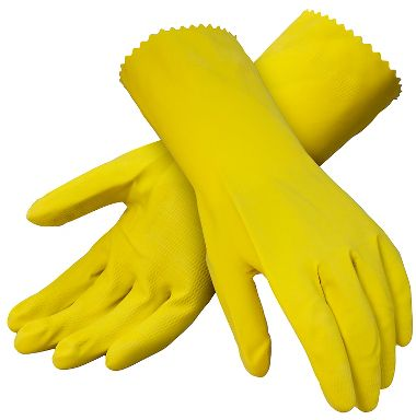 Latex Cleaning Gloves, Flock Lining, Yellow