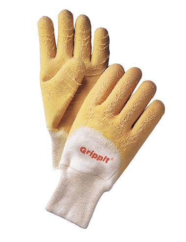 Grippit Rubber Coated Gloves with Crinkle Finish, Knit Wrist, 1 Pair