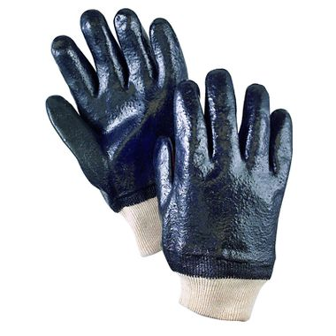 PVC Gloves with Rough Finish, Knit Wrist, 1 Pair