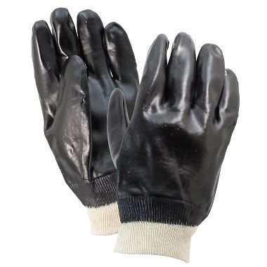 PVC Coated Gloves, Knit Wrist, 1 Pair