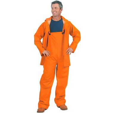 Repel Rainwear™ 3 Piece 0.35mm PVC/Polyester Rain Suit, Orange, 35 Mil
