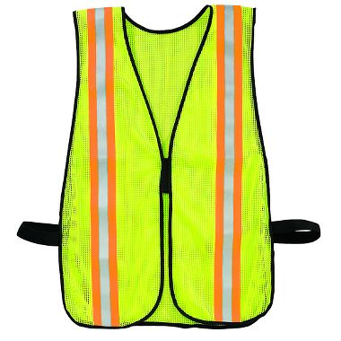 Illuminator™ Economy Safety Vest, Fluorescent Green with Reflective Stripe