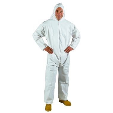 Safe N' Clean™ Splashguard Waterproof Coverall w/ Hood, Open Wrist & Ankles