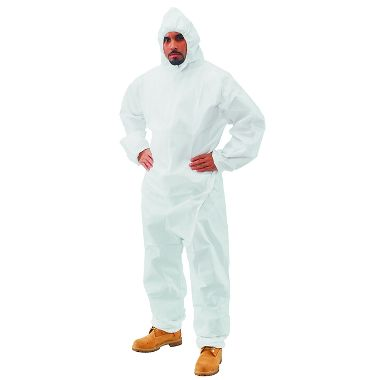 Safe N' Clean™ Splashguard Coverall Hood, Elastic Wrists & Ankles