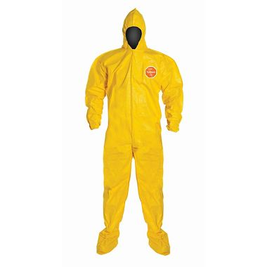 DuPont™ Tychem® 2000 Coverall, QC122SYL, Hood, Elastic Wrist, Attached Socks, Serged Seams