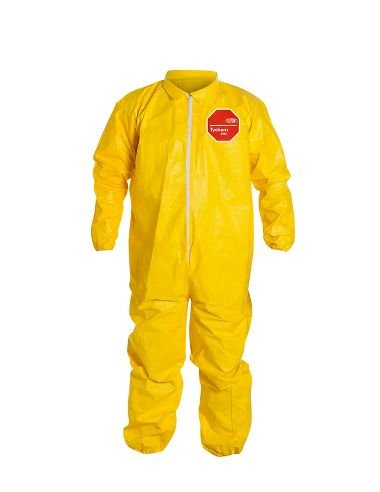 DuPont™ Tychem® 2000 Coverall, QC125SYL, Collar, Elastic Wrists and Ankles, Serged Seams