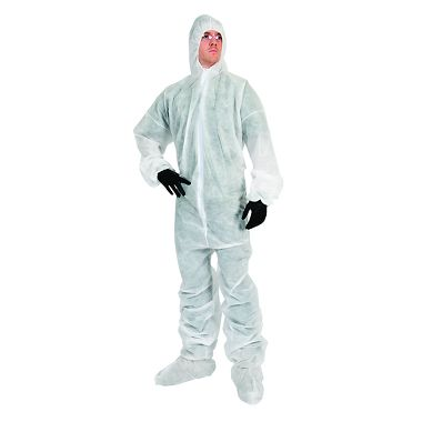 Safe N' Clean™ Coverall with Hood, Elastic Wrists & Ankles and Boots, Case of 25