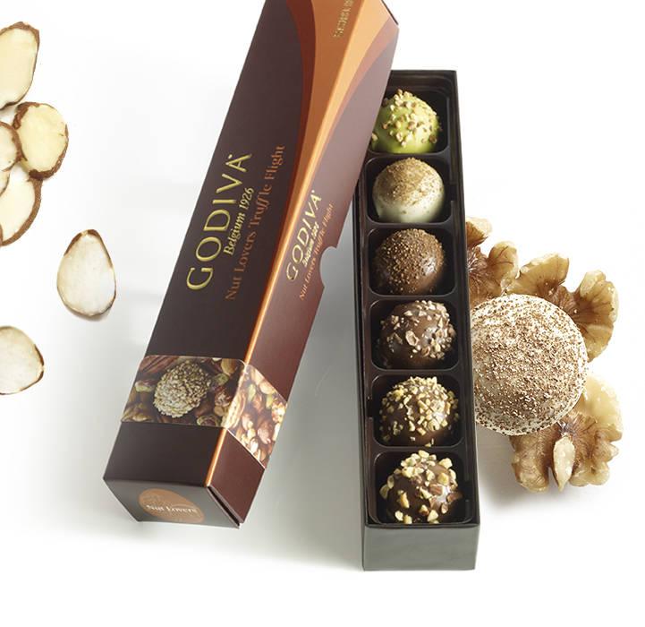 Nut Lovers Truffle flight features six nut chocolate truffles