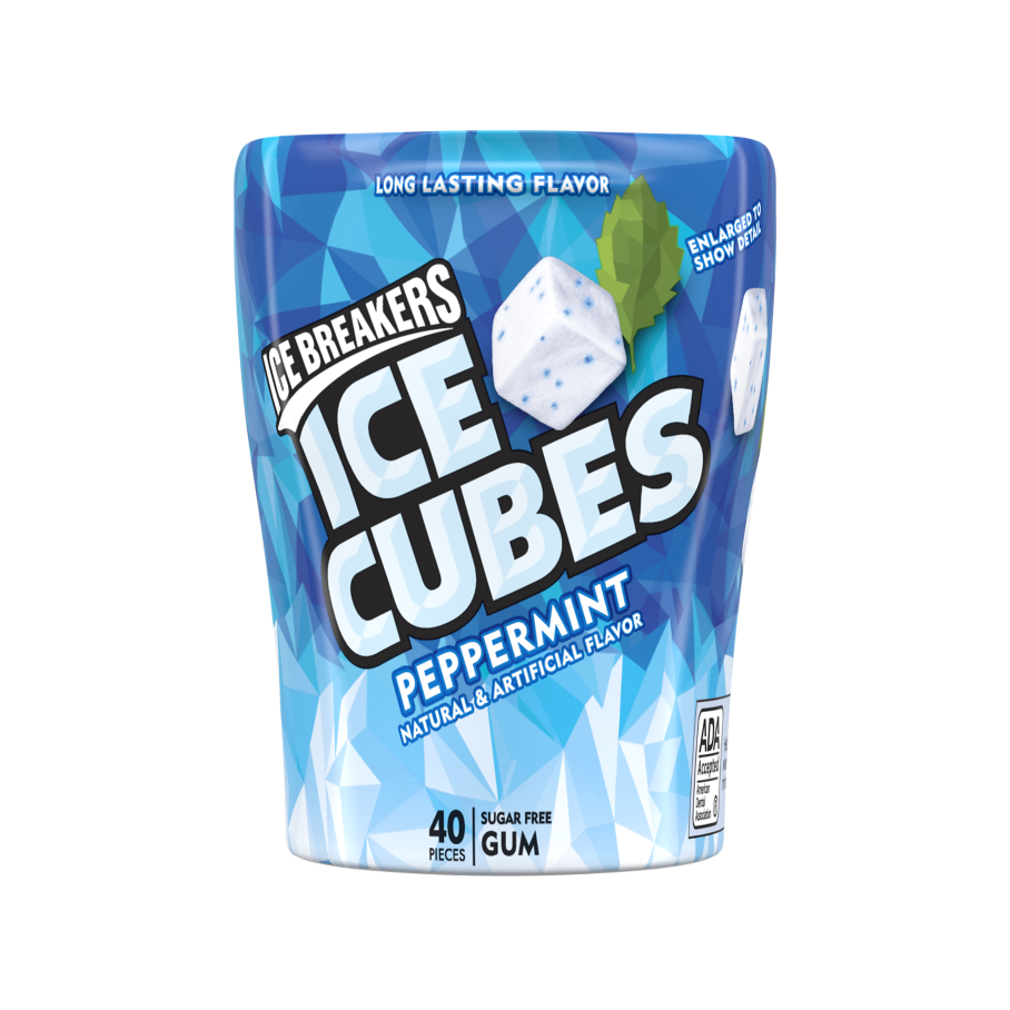 ICE BREAKERS ICE CUBES Peppermint Sugar Free Gum, 3.24 oz bottle, 40 pieces - Front of Package