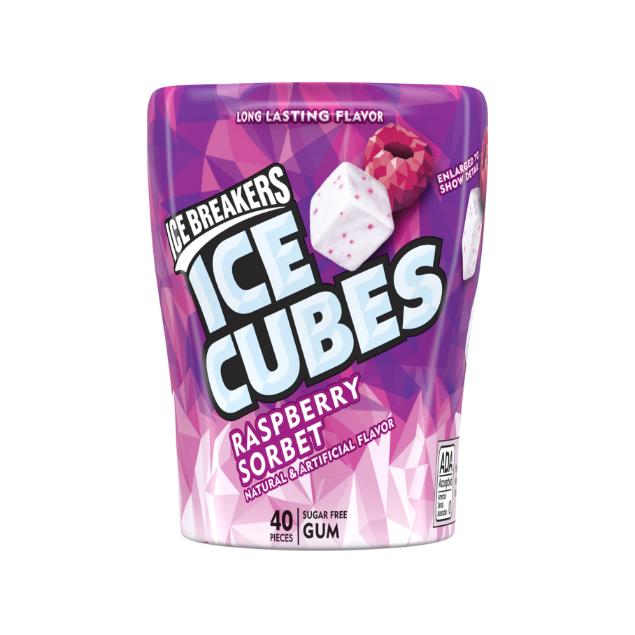 ICE BREAKERS ICE CUBES Raspberry Sorbet Sugar Free Gum, 3.24 oz bottle, 40 pieces - Front of Package