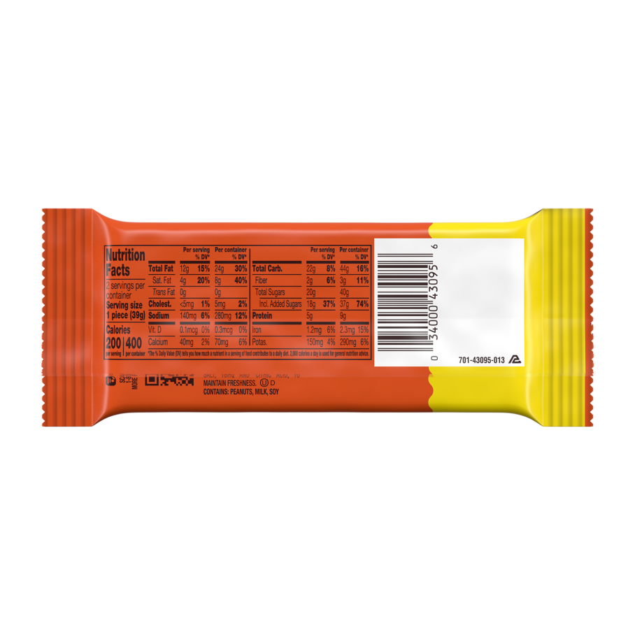 REESE'S Big Cup Milk Chocolate King Size Peanut Butter Cups, 2.8 oz - Back of Package